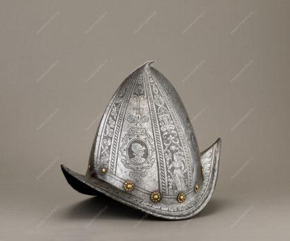 Pěší přilba tzv. morion-cabasset, šišák, plech, konec 16. století, MMP H 12.818