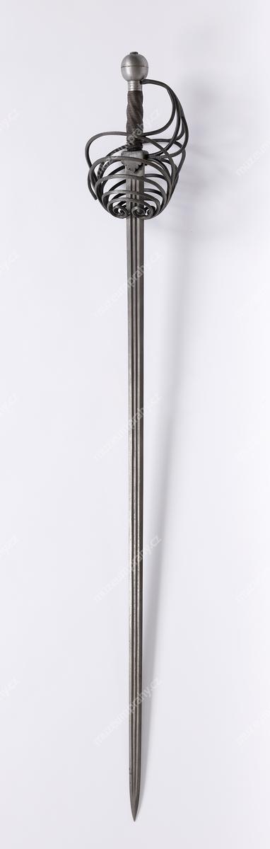 Meč s proplétaným košem, železo, 16. století, MMP H 9.308