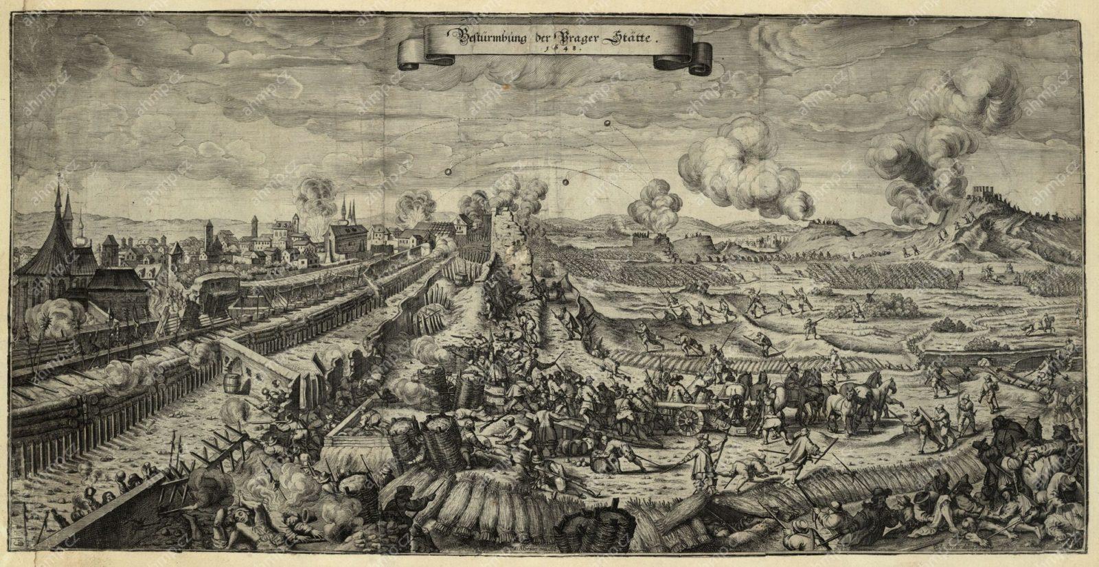 Karel Škréta, Obléhání měst pražských v roce 1648 Švédy, mědiryt, Frankfurt am Main: Matthaeus Merian Erben, 1652, AMP, Sbírka grafiky, G 32a, G 3745