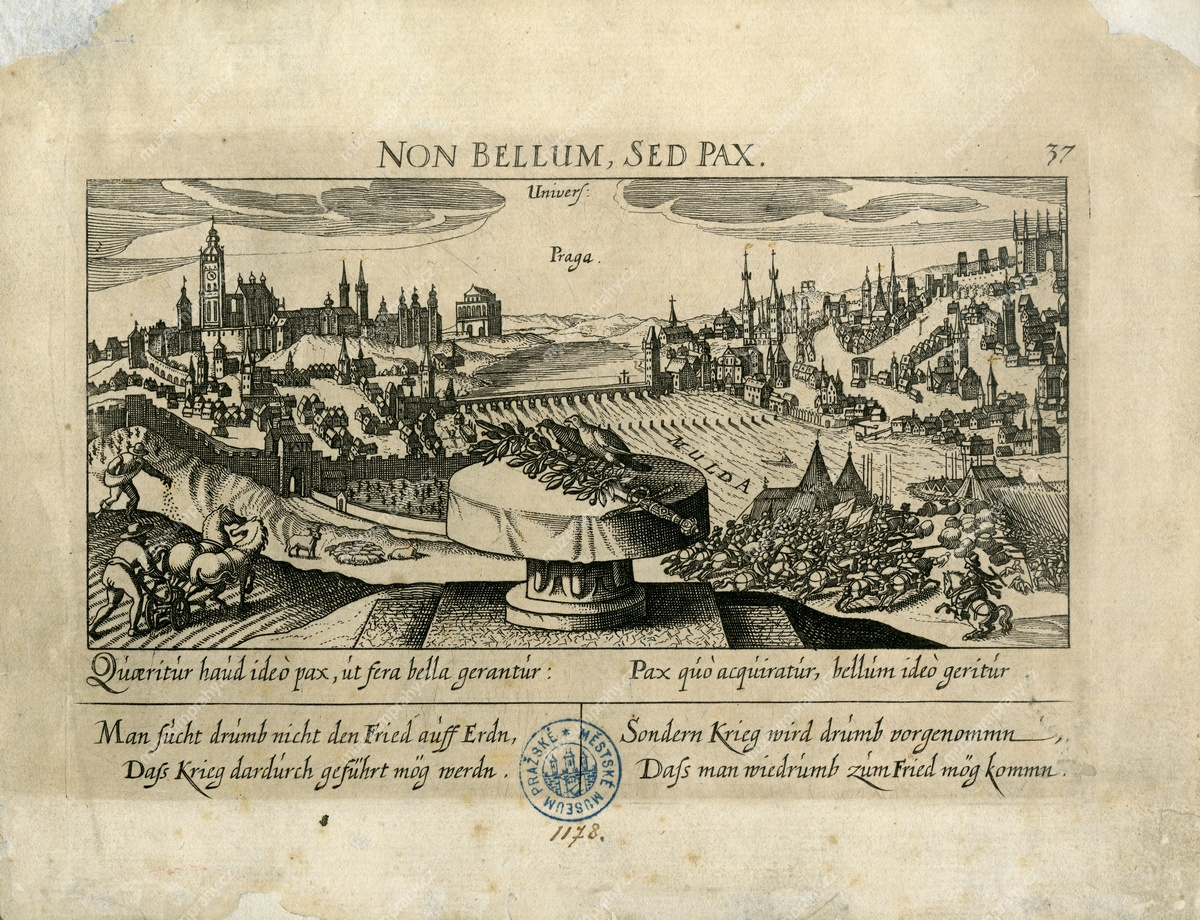 Non Bellum, sed pax, Sebastian Fuck, Eberhard Kieser, mědiryt, in: Daniel Messner, Thesaurus…, vyd. Eberhard Kieser, Frankfurt a. M., 1623, MMP H 1.178