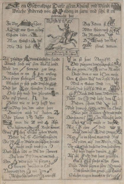 (Hasen)Gschrickhige Harte, gfrir Khunst und Wundt(segen), Weliche Friedrich von (Heydel)berg in stirm und schl(acht)en gebraucht hat, mědiryt, s. l., 1621, AMP, Sbírka grafiky G 1696 Rébusový leták ze skupiny pamfletů, zesměšňujících Fridricha Falckého. Řada propagandistických letáků byla pro zvýšení atraktivity založena na koncepci typografických hříček, jaké reprezentovaly i rébusové letáky, které vybízeli čtenáře k aktivnímu přístupu k textu.