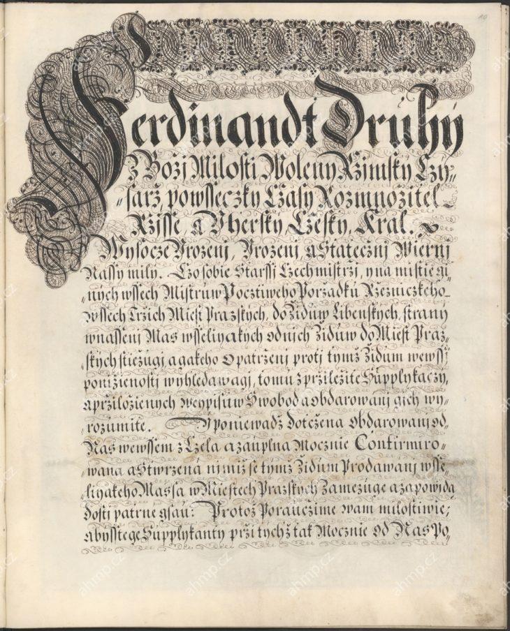 Ferdinand III. obnovuje a potvrzuje starší privilegia pražských řezníků a připomíná jejich statečné chování při obraně měst pražských v době švédského obléhání, 1649, AMP, Cech řezníků Praha, inv. č. 6, pamětní kniha pražských řezníků 1569–1733, f. 10r–13v