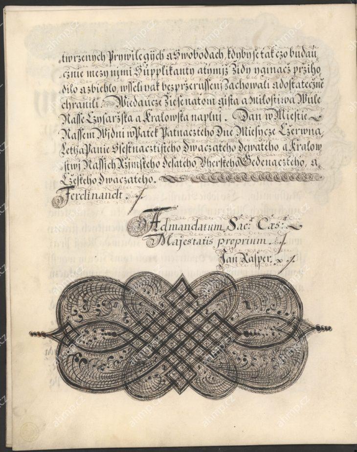 Ferdinandem III. obnovuje a potvrzuje starší privilegia pražských řezníků a připomíná jejich statečné chování při obraně měst pražských v době švédského obléhání, 1649, AMP, Cech řezníků Praha, inv. č. 6, pamětní kniha pražských řezníků 1569–1733, f. 10r–13v