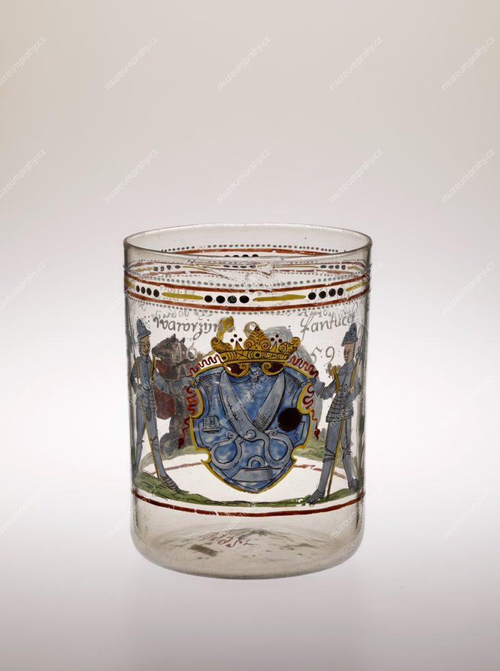 Sklenice cechu krejčí, Čechy, sklo malované emaily, 1659, MMP H 19.492