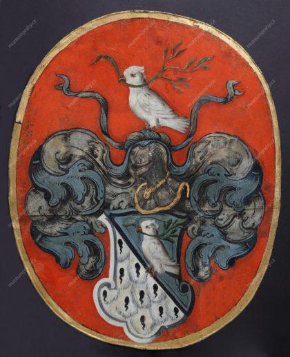 Pohřební štít cechu kožešníků, Praha, malba na plechu, 1641, MMP H 34.443