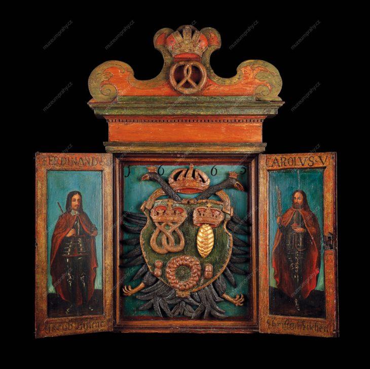 Vývěsní štít cechu pekařů Malé Strany, Praha, dřevořezba, polychromovaná a zlacená, 1665, MMP H 34.503