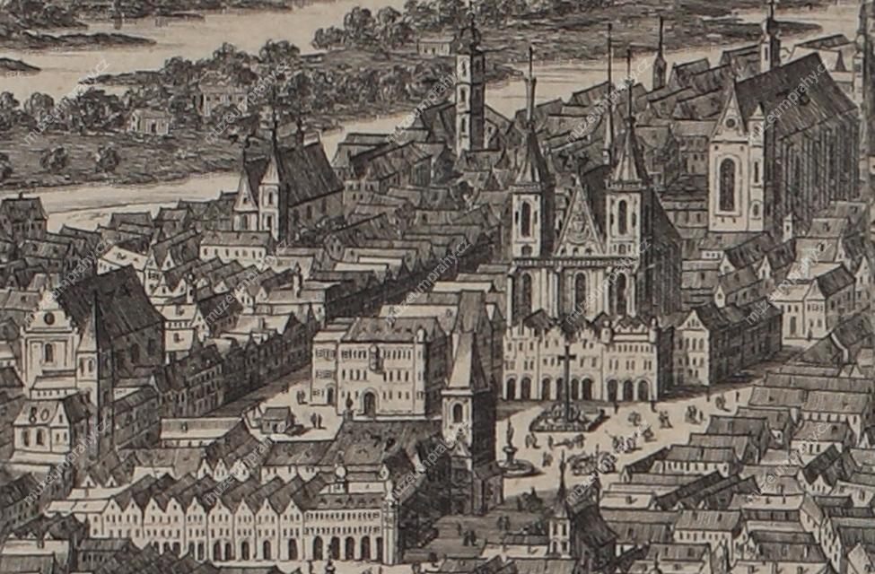 Pohled na Staroměstské náměstí s radnicí, Týnským chrámem a s mariánským sloupem, výřez z prospektu Prahy, Folpertus Ouden Allen, mědiryt, 1684, MMP H 194