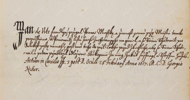 Jan (Hans) de Witte (z Lilientalu a Podboří) získává měšťanské právo na Malé Straně, 28. 2. 1617, AMP, Sbírka rukopisů, rkp. 567, kniha měšťanských práv Malé Strany, 1587–1639, f. 149r
