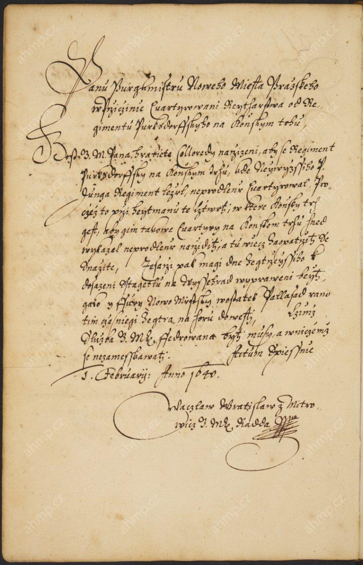 Nařízení radě Nového Města, aby zajistila ubytování vojska v domech na Koňském trhu a dodala tesaře a materiál na opravu hradeb, 1. 2. 1640, AMP, Sbírka rukopisů, rkp. č. 818, kniha dekretů Nového Města pražského, 1631–1644, 108v