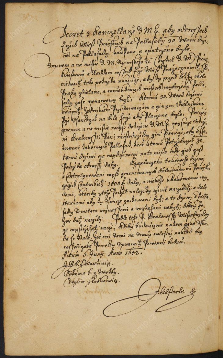 Nařízení správám tří měst pražských, aby zajistily dřevo na opravu a budování palisád, které byly součástí pražského opevnění. Dále měly zaplatit dělníky, kteří na opevnění pracují a zabezpečit na hradbách hlídky, 6. 6. 1642, AMP, Sbírka rukopisů, rkp. 818, kniha dekretů Nového Města pražského, 1631–1644, 157v