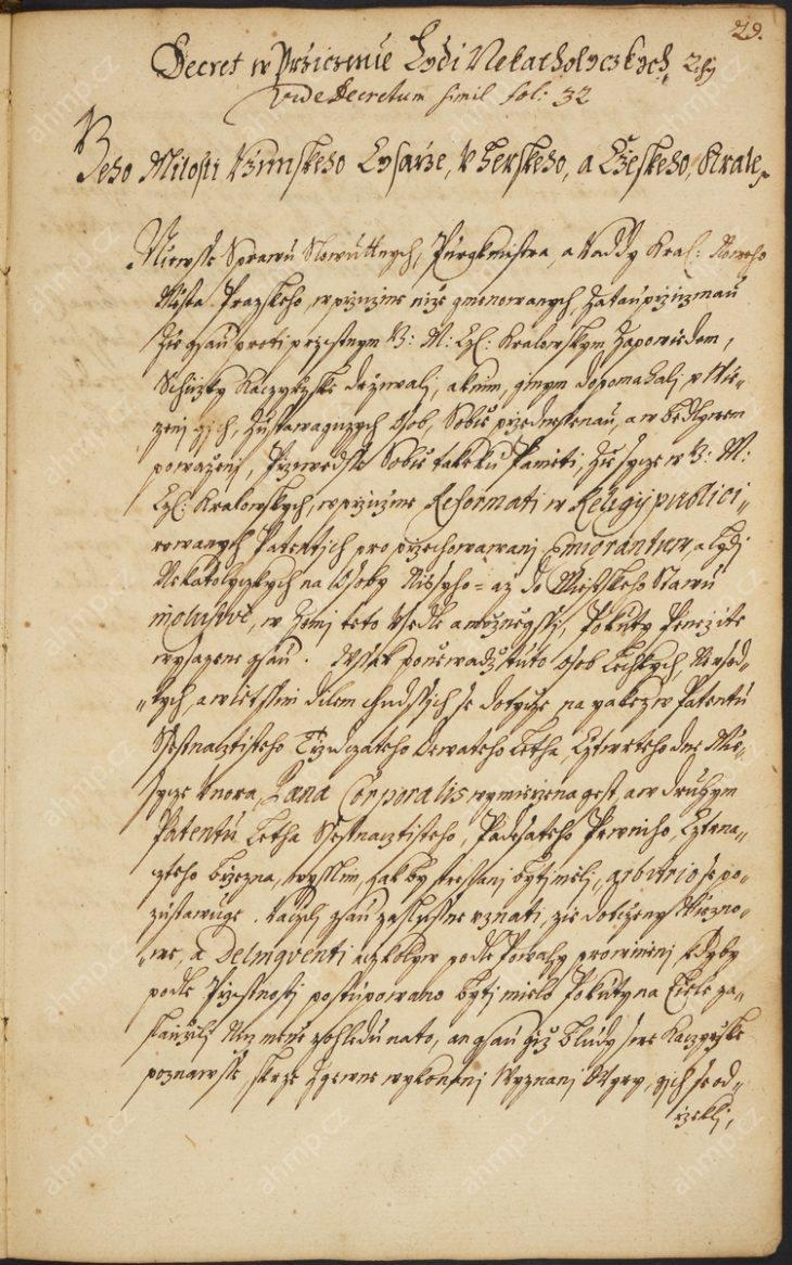 Dekret specifikuje tresty pro skupinu nekatolíků, která se scházela s luteránským kazatelem z Drážďan a tajně praktikovala nekatolickou víru. Tresty pro jednotlivé provinilce byly relativně mírné, většinou se jednalo o pokuty, veřejné práce, či nějakou formu pokání, 16. 1. 1670, AMP, Sbírka rukopisů, rkp. 824, kniha dekretů Nového Města pražského, 1668–1678, f. 29r–30v