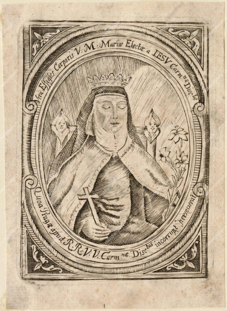 Svatý obrázek, neporušené tělo ct. matky Marie Elekty od Ježíše, zakladatelky kláštera bosých karmelitek u sv. Josefa na Malé Straně v Praze a uchovávané tamtéž, nesignováno, po 1670 (?), MMP H 323.235