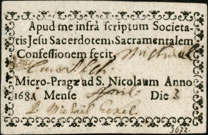 Zpovědní cedule, potvrzení o vykonané velikonoční zpovědi, od jezuitů, z kostela sv. Mikuláše na Malé Straně, Praha, papír, tisk, 1686, MMP H 3.672