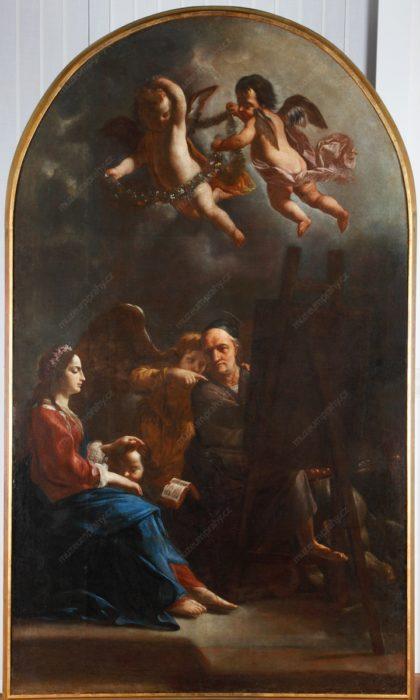 Karel Škréta: Sv. Lukáš maluje Pannu Marii s Ježíškem, olej na plátně, 1661, MMP HD 15
