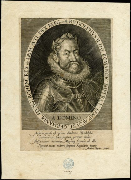 Podobizna Rudolfa II., Abraham Hogenberg, mědiryt, in: Nicolaus Bellus, Laurea Austriaca…, vydavatel: Johann Theobald Schönewetter, Frankfurt a. M. 1627, MMP H 10.817