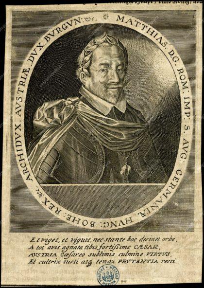 Podobizna Matyáše II., mědiryt, in: Nicolaus Bellus, Laurea Austriaca…, vydavatel: Johann Theobald Schönewetter, Frankfurt a. M. 1627, MMP H 900