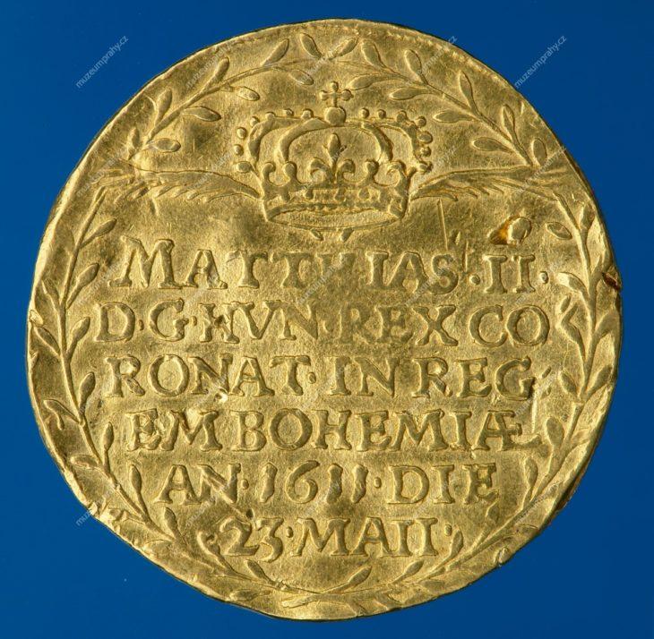 Korunovační peníz na pražskou korunovaci Matyáše II. (dvoudukát), Praha, Johann Konrad Greuter, zlato, 1611, MMP H 15.170