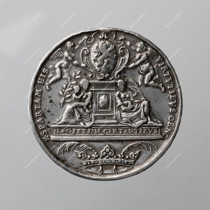 1617 – medaile na pražskou korunovaci Ferdinanda II., Norimberk, Christian Maler, stříbro, 1617, MMP H 016.712