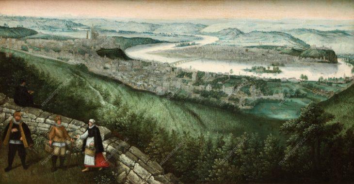 Panorama Prahy z Petřína, Lucas van Valckenborch, olej na plátně, kolem 1580, MMP H 20.685