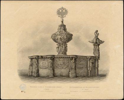 Krocínova kašna na Staroměstském náměstí v Praze, vydal Kober a Markgraf, Praha, papír, tisk, kolem 1860, MMP H 4.261/a