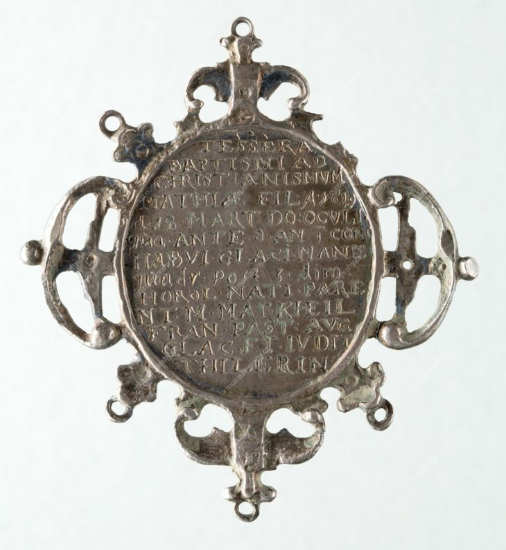 Křestní medaile, Praha, stříbro, gravírované, 1619, MMP H 27.127