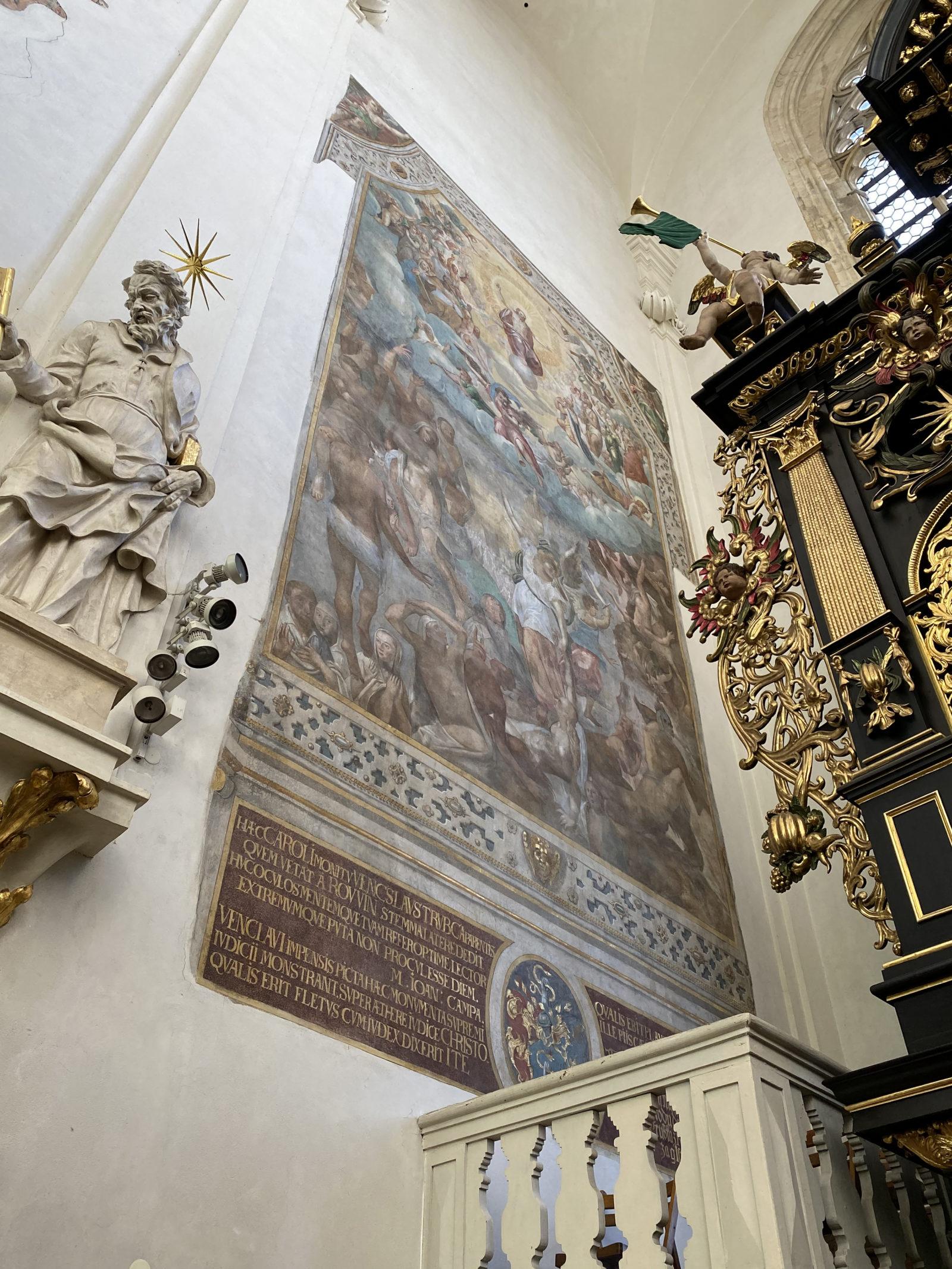 Ferdinad z Eysern a Jan Jindrovský, Poslední soud, 1604, nástěnná malba v chrámu Matky Boží před Týnem