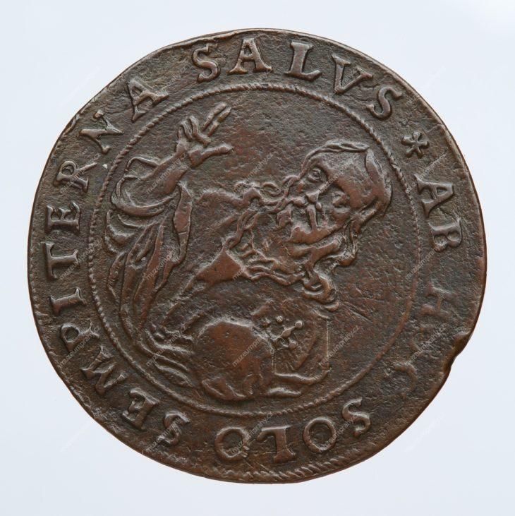 Medaile na založení kostela sv. Salvátora na Starém Městě pražském, Praha, Johann Konrad Greuter, bronz, 1611, MMP H 4.186b