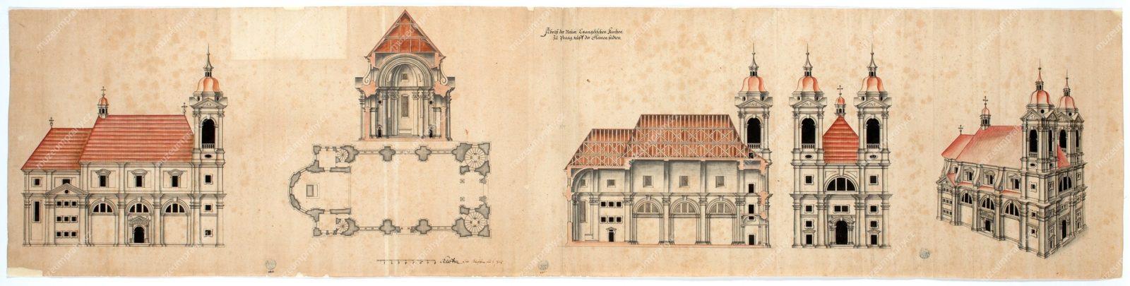 Návrh nového evangelického (luteránského) kostela Nejsvětější Trojice v Praze na Malé Straně, později kostel bosých karmelitánů Panny Marie Vítězné, nesignováno, papír, kresba perem, 1611, MMP H 8.855