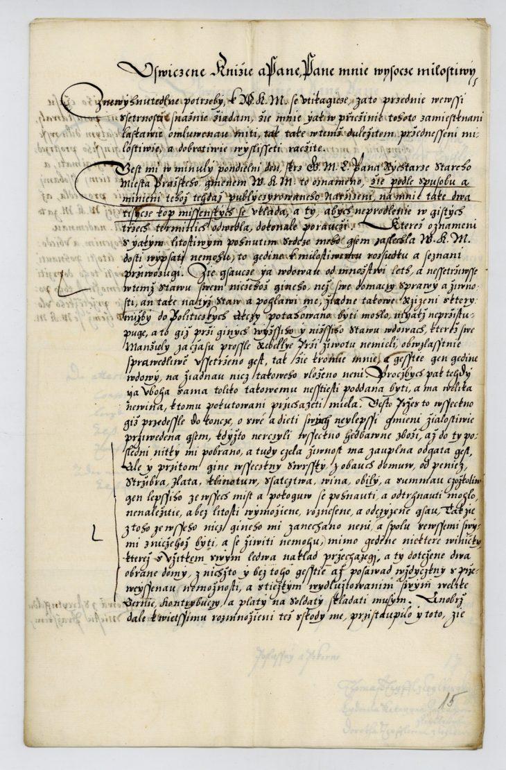 Žádost Estery Teuflové z Zeilperka (rozené Hebenstreitové ze Streitenfeldu) a žádost jejích dětí místodržícímu Karlovi z Lichtenštejna o prominutí pokuty, která jí byla vyměřena za podporu stavovského povstání, 1624, NA ČR, SM C 215/T 24
