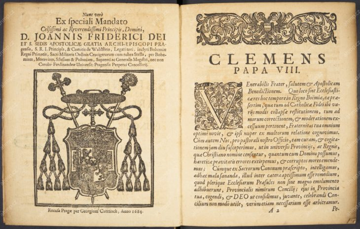 Synodus Archidioecesana Pragensis, Praha: Jiří Černý z Černého Mostu, 1605, AMP, Sbírka starých tisků, 2 A 445 Základní publikace předbělohorské katolické literatury, která přináší texty projednávané na synodu svolaném pražským arcibiskupem Zbyňkem Berkou z Dubé v roce 1605, zejména však dekrety tridentského koncilu.