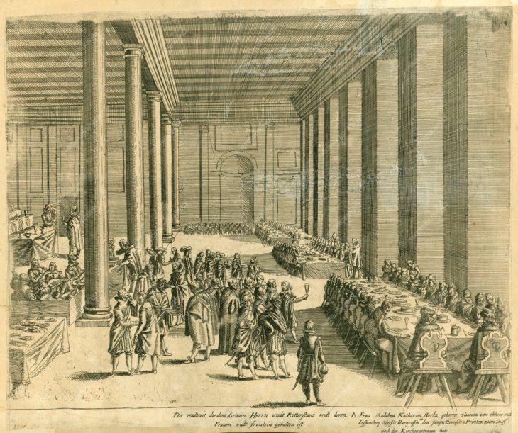 Hostina při narození prince Ruprechta Falckého v Praze 27. 12. 1619, mědiryt, MMP H 2.740