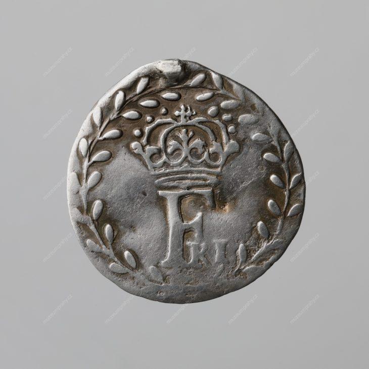 Korunovační peníz velký na pražskou korunovaci Fridricha Falckého (pětidukát), Praha, Johann Konrad Greutner, zlato, 1619, MMP 014.895
