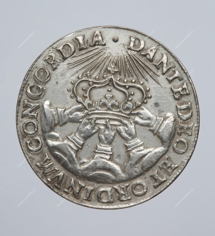 Korunovační peníz větší na pražskou korunovaci Fridricha Falckého, Praha, Johann Konrad Greuter, stříbro, 1619, MMP H 9.303