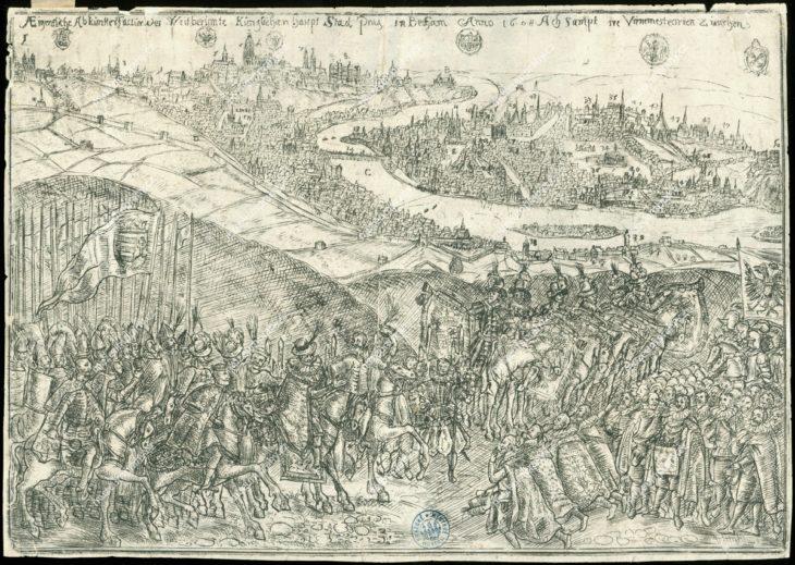 Příjezd arciknížete Matyáše do Prahy v červnu roku 1608, ryl a vydal Wilhelm Peter Zimmermann?, lept, 1608?, MMP H 1.914