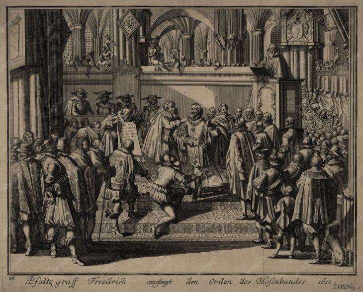 Slavnostní udělení Podvazkového řádu Fridrichovi Falckému v roce 1613, mědiryt, [s.t.], 1630, AMP, Sbírka grafiky, G 1604