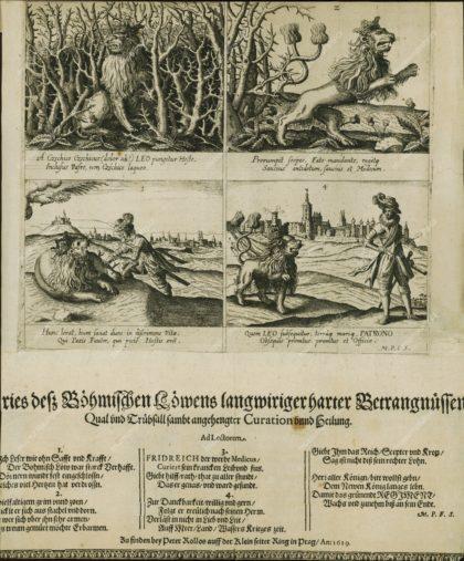 Alegorie osudů českého království v roce 1619, politický leták, mědiryt, vydavatel: Peter Rollos, 1619, MMP H 10.479