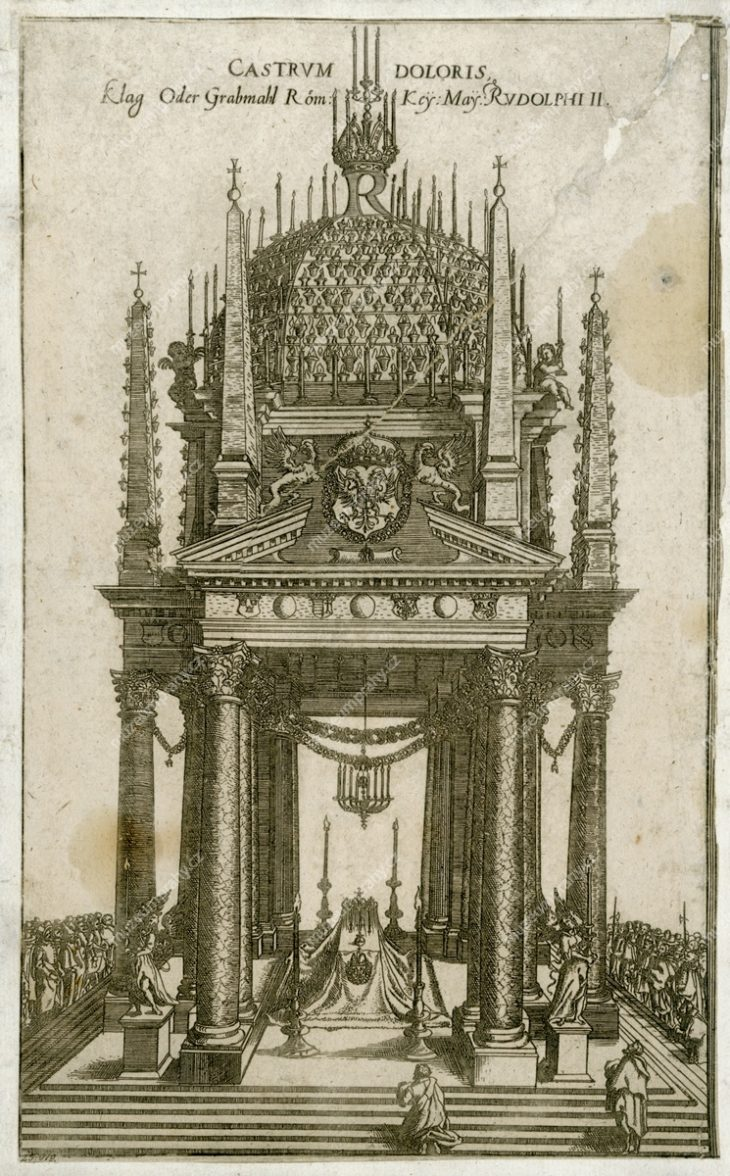 Castrum doloris Rudolfa II., mědiryt, 1612, MMP H 25.919