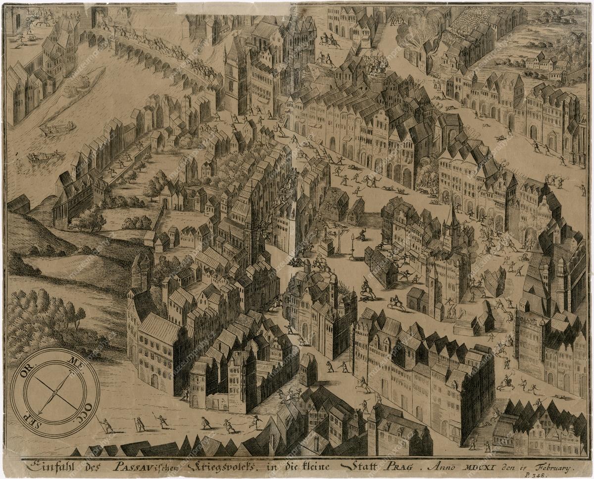 Vpád Pasovských do Prahy, 15. 2. 1611, mědiryt, součást knihy Franz Christoph Kevenhiller, Annales Ferdinandei…, Regensburg, 1641, MMP H 9.295