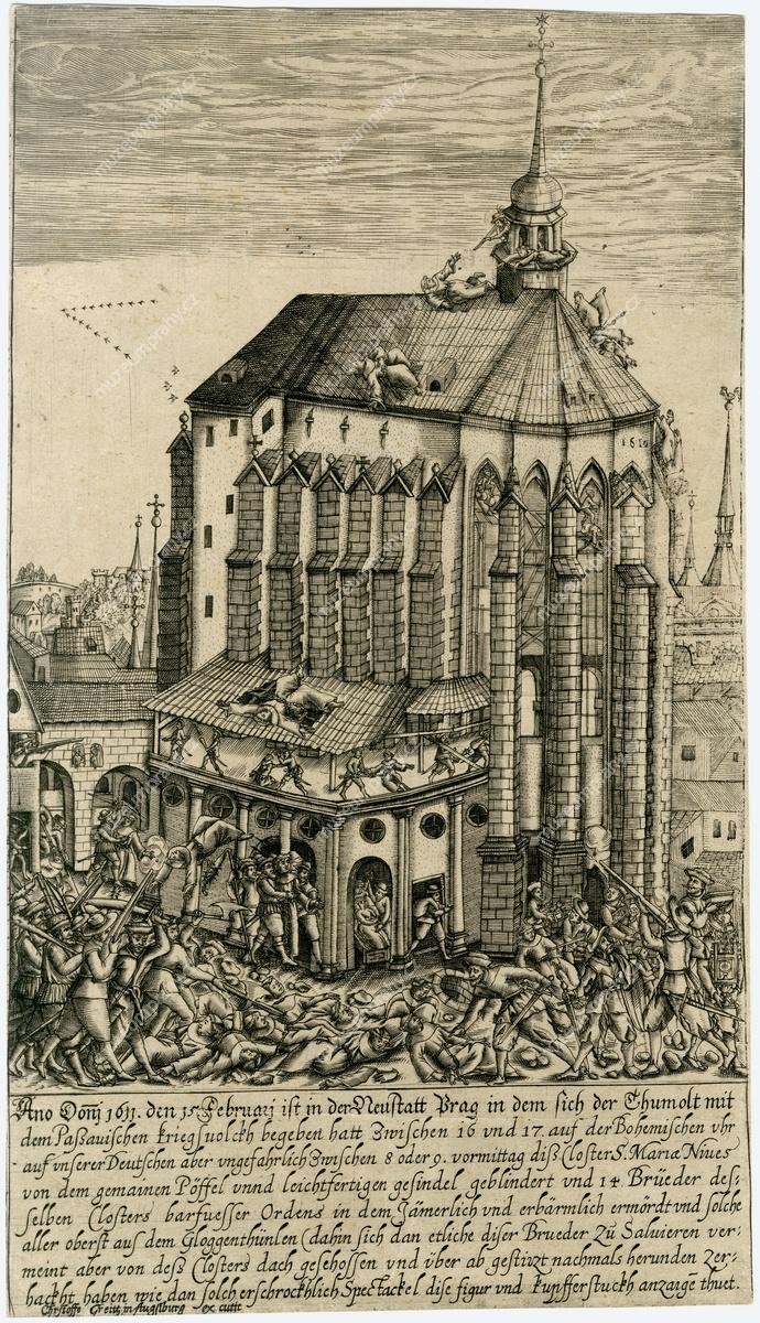 Plenění kostela Panny Marie Sněžné 15. 2. 1611 za vpádu Pasovských do Prahy, mědiryt, vydal Christoffo Greitt, 1611, MMP H 226. Největší škody utrpěl františkánský klášter u P. Marie Sněžné, kde bylo zavražděno 14 řeholníků, zkáze naopak uniklo jezuitské Klementinum, které vzali pod ochranu stavovští velitelé.