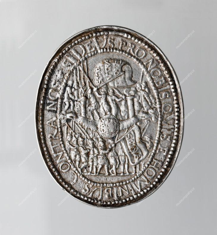 Oválná medaile Konfederace českých stavů, 1619–1620, Norimberk, Christian Maler, stříbro, MMP H 16.210