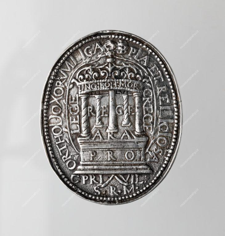 1619–1620 Oválná medaile Konfederace českých stavů, Norimberk, Christian Maler, stříbro, 52 x 43 mm, 22,5 g, literatura: Čermák – Skrbek, č. 350, MMP H 16.210