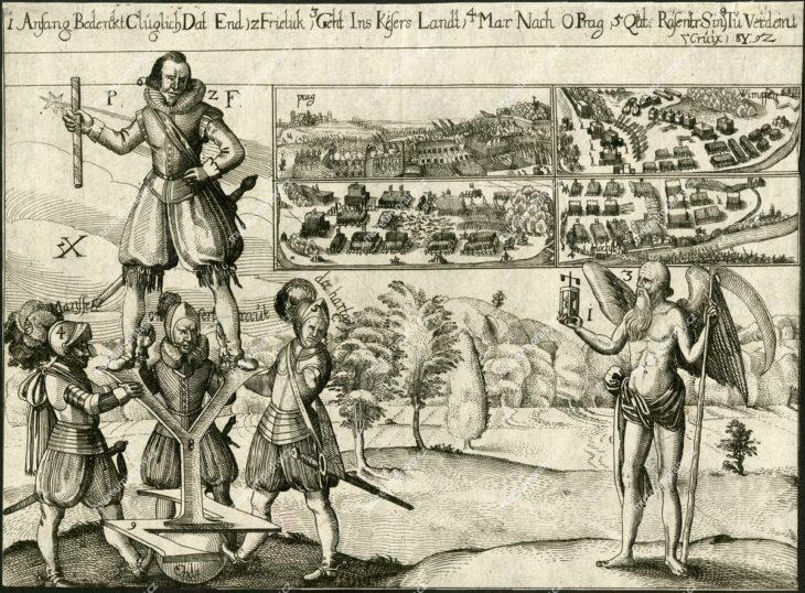Bitva na Bílé hoře 8. 11. 1620, mědiryt, 1663?, jednostránkový leták, MMP H 3.226/2