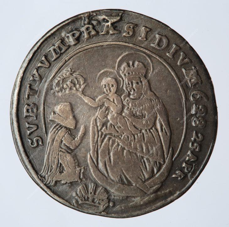 Pamětní peníz na založení kláštera a poutního kostela na Bílé hoře, Praha, Donat Starckh, měděná, 1620, MMP H 9.302