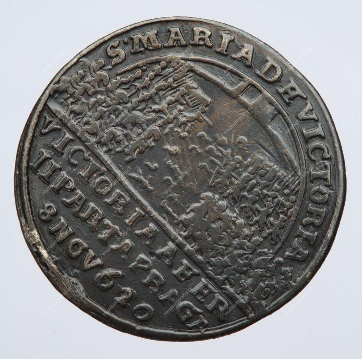 1628 Pamětní peníz na založení kláštera a poutního kostela na Bílé hoře, Praha, Donat Starckh, měděná, 1620, MMP H 9.302