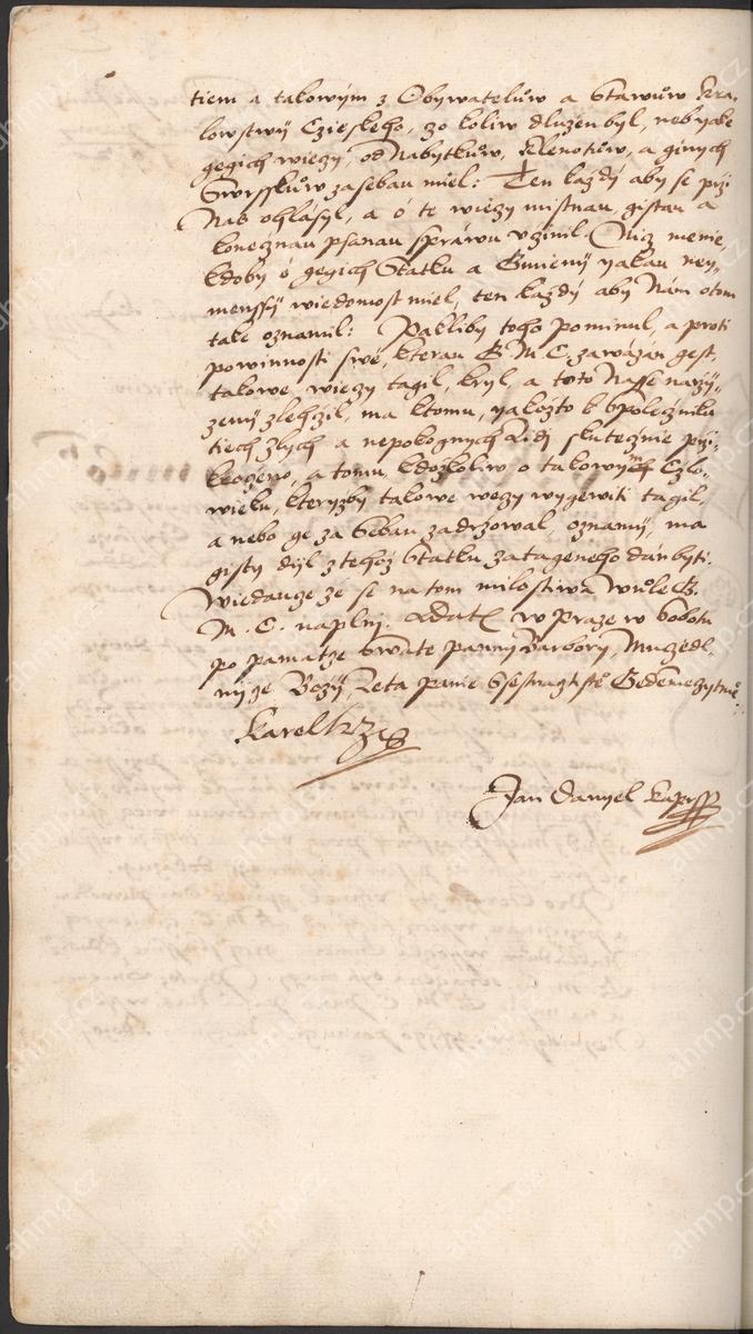Karel z Lichtenštejna jako královský komisař vydává nařízení, aby byl dohledán majetek uprchlých účastníků stavovského povstání, který měl propadnout konfiskaci, 8. 12. 1621, AMP, Sbírka rukopisů, rkp. 744a, kniha dekretů Starého Města pražského, 1609–1631, f. 59r–59v Nařízení slibovalo odměnu všem, kdo nepřiznaný majetek uprchlých povstalců ohlásí.