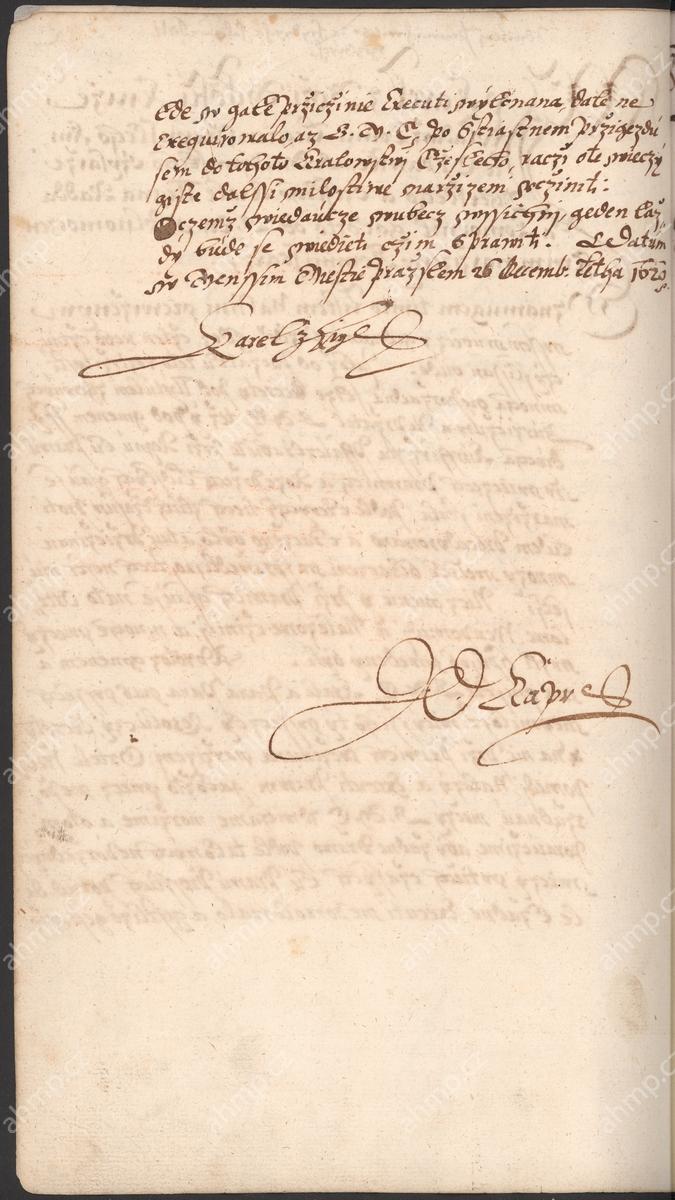 Karel z Lichtenštejna jako královský komisař vyhlašuje zrušení všech právních aktů z doby stavovského povstání, 26. 12. 1620, AMP, Sbírka rukopisů, rkp. 744a, kniha dekretů Starého Města pražského, 1609–1631, f. 64r–64v