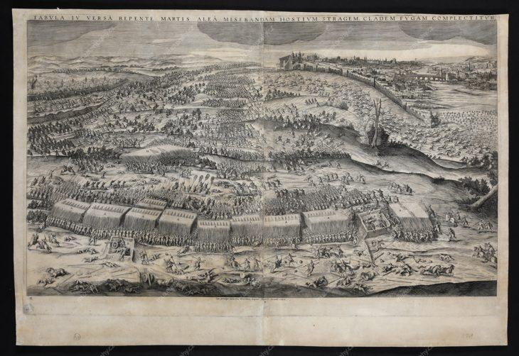 Bitva na Bílé hoře, 8. 11. 1620, mědiryt, 1622, rytec: Jan Sadeler, vydavatel: Raphael Sadeler, MMP H 2.741