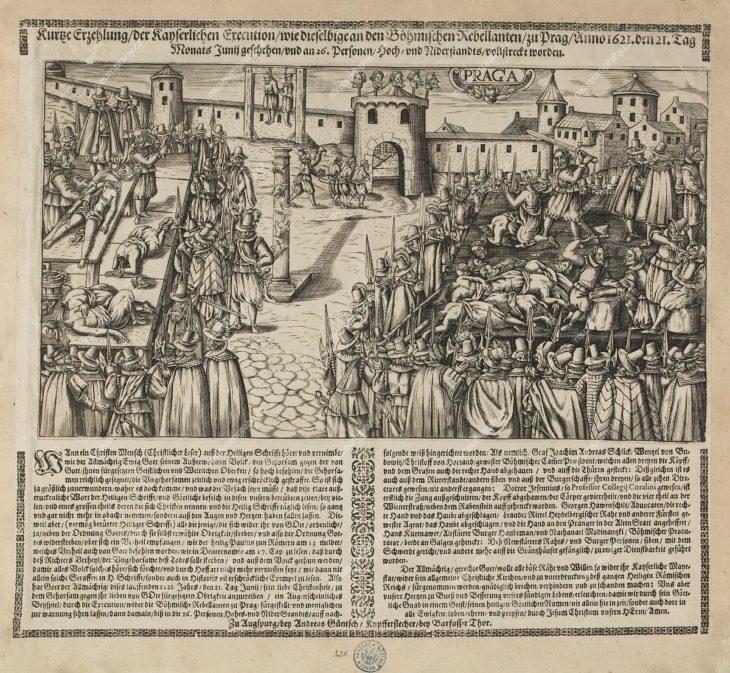 Poprava na Staroměstském náměstí 21. 6. 1621, předloha, vydal a tiskl: Andreas Guntsch?, in: Kurze Erzehlung, Augspurg, 1621, mědiryt, knihtisk, MMP H 230