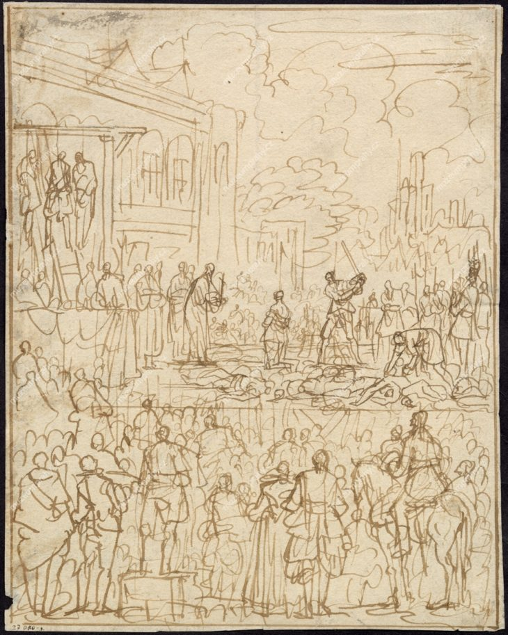 Poprava na Staroměstském náměstí, kresba perem, Jan Luykam, kol. 1700, MMP H 027.080