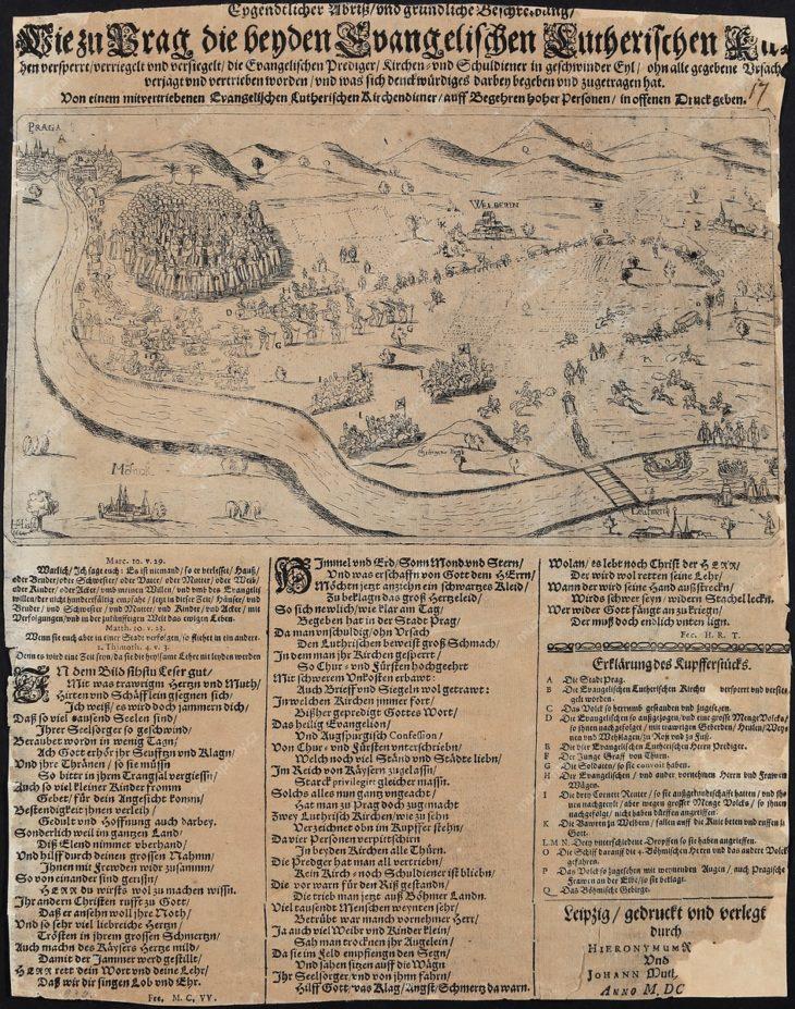 Vypovězení nekatolických kněží z Prahy a z Čech 13. 12. 1621, autor Johan Muthen, mědiryt, lept, Leipzig 1622, vydal Hieronymus Rauscher a Johann Muten, asi MMP H 003.063